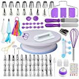 Cake Decorating Supplies Kit for Beginners, Set of 137, Baking Pastry Tools, 1 Turntable stand-55 Numbered Icing Tips with Pattern Chart, Angled Spatula, 8 Russian Piping nozzles-Baking Tools (Color: Purple, Tamaño: 137)