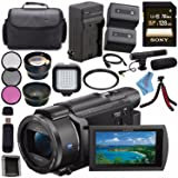Sony FDR-AX53 FDRAX53 4K Ultra HD Handycam Camcorder + Rechargable Li-Ion Battery + Charger + Sony 128GB SDXC Card + Carrying Case + Tripod + HDMI Cable + Card Wallet + Card Reader + Fibercloth Bundle (Color: Pro)