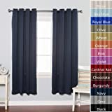 Navy Solid Grommet Top Thermal Insulated Blackout Curtains 104W X 72L Pair - GT