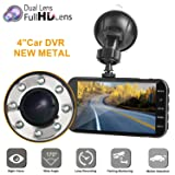 """Dual Dash car cam, Mi Yang FHD 1080P Camera Front Rear Night Vision,2 Channel 310° Wide Angle Lens 4"""" Screen Dashboard cam, G-Senor, Parking Monitor,Motion Detection.for Trucks uber Driver"""