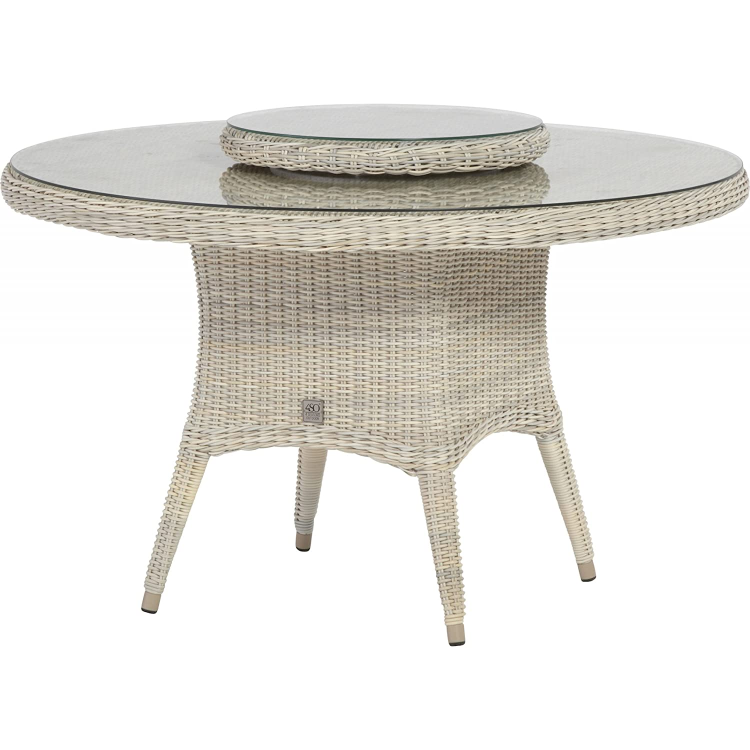 4Seasons Outdoor Victoria dining Tisch ø 130 cm inkl. Glasplatte Provance wicker kaufen