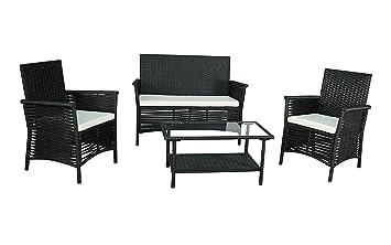 Gartenfreude 2800-1009-045 - Sala de estar muebles de jardín gartenset polyrattan guarnición sitzgruppe 7 piezas, marco de aluminio, negro, resistente a la intemperie, incluyendo almohada