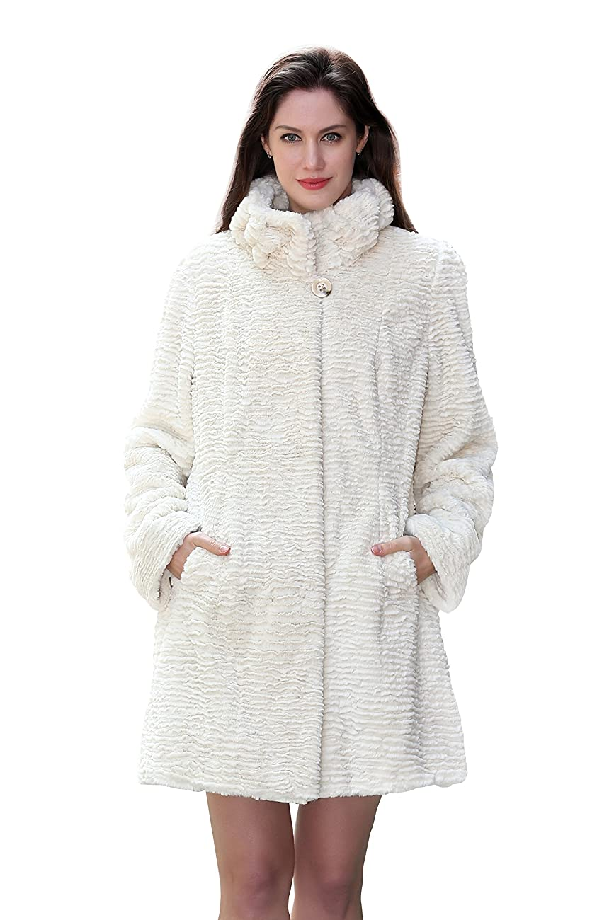 Adelaqueen Women's Winter Style Luxurious Persian Lamb Fabulous Faux Fur Coat 0