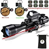 AR15 Tactical Rifle Scope C4-16x50EG 3 in 1 Hunting Dual Illuminated with Red Laser Sight and 4 Holographic Reticle Red and Green Dot Sight (12 Month Warranty) for 22&11mm Weaver/Picatinny Rail Mount (Color: 4-16x50EG)