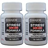 Stress Tab with Zinc High Potency Stress Formula with B-Vitamins, C+E, plus Antioxidants and Zinc For Immune Support 60 Tablets per Bottle Pack of 2 Total 120 Tablets (Tamaño: 2 Bottles Total 120Tablets)