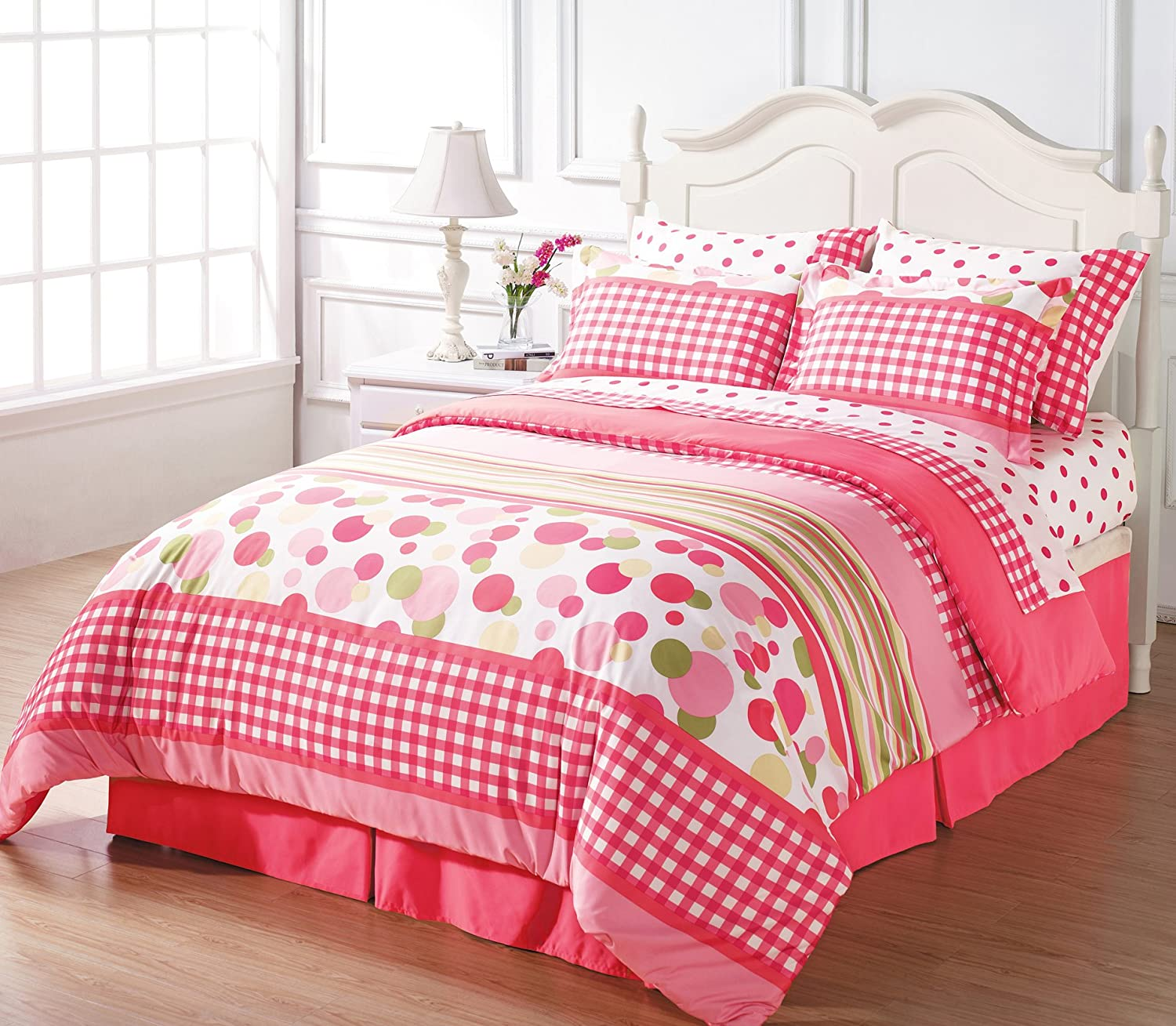 Chezmoi Collection 8-piece Soft Pink White Green Polka Dot Plaid Duvet Cover with Sheet Set Queen