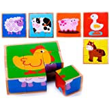 Farm Animal Wooden Block Puzzle (6 in 1) for Toddlers Age 3 and Up, Preschool Age Kids w/Colorful Solid Wood Cube Pieces - Barnyard Animals. Simple & Educational Toy for 3, 4, 5 Year Olds