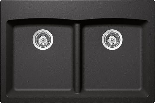 SCHOCK EDON200T088 EDO Series CRISTADUR 50/50 Topmount Double Bowl Kitchen Sink, Stone