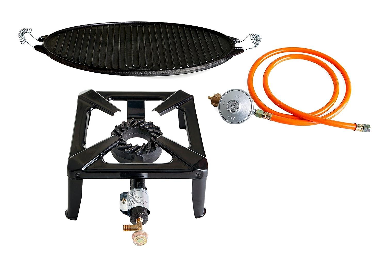 Hockerkocher mit 8.5 kW Leistung, Abmessung 30x30x15 cm und Gusseisengrillplatte Light Ø 38 cm online bestellen