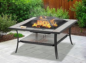 Centurion Supports Shango Mesa multifuncional negra con azulejos de cerámica para jardín y patio, con hueco central; se puede utilizar como mesa normal, barbacoa o cubitera