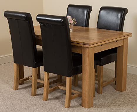 Richmond medium Extending Solid Oak Dining Table + 4 Black Leather Chairs 100% Solid Oak | 140cm - 220cm Extending | Fast & Free Delivery