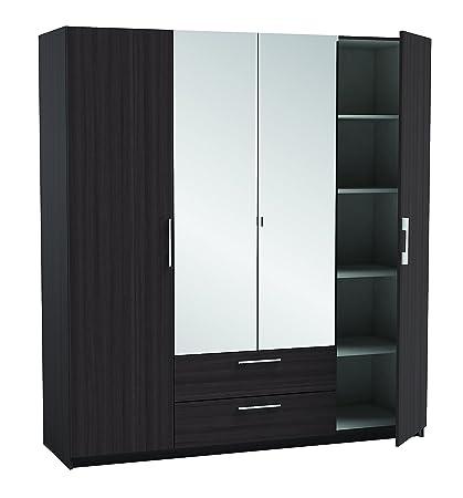 New York 4 Door 2 Drw Mirrored Wardrobe