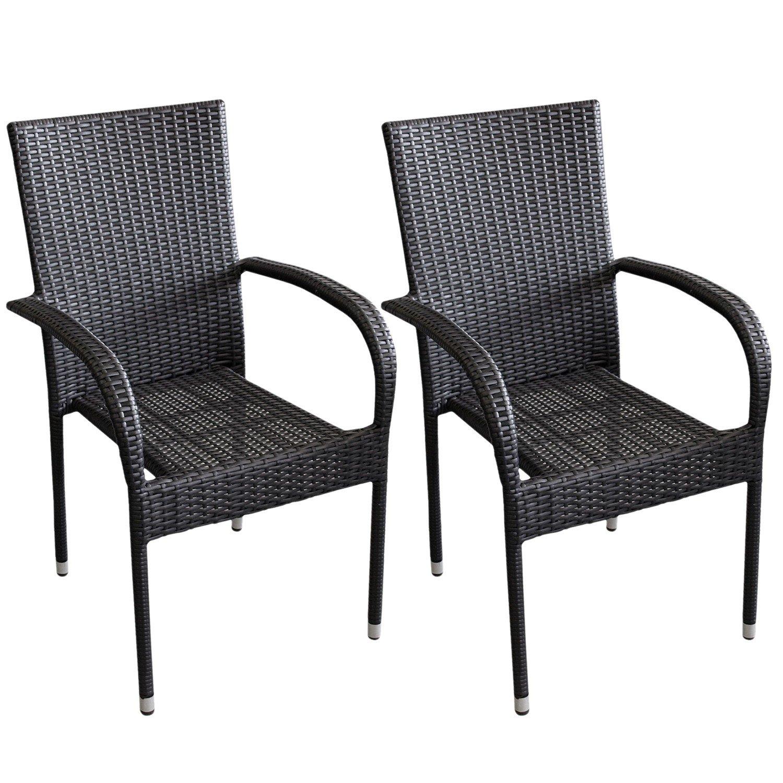 2 Stück Poly Rattan Gartensessel Stapelstuhl Gartenstuhl stapelbar Terrassenmöbel Balkonmöbel Schwarz jetzt bestellen
