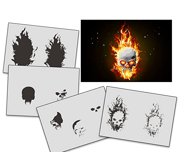 UMR-Design AS-326 Flames Skull Airbrush StencilsTemplates Step by Step Size S (Tamaño: Small)