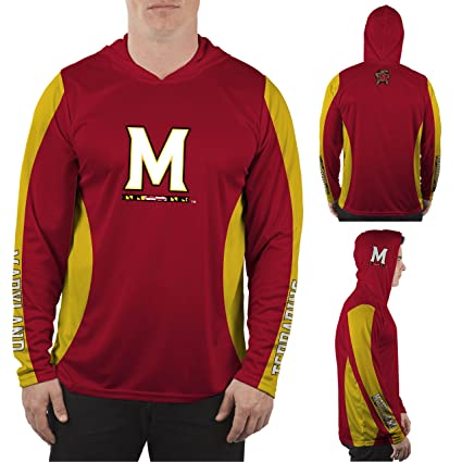 Maryland Terps Hooded Long Sleeve Shirt Vented Design: Sports & Outdoors