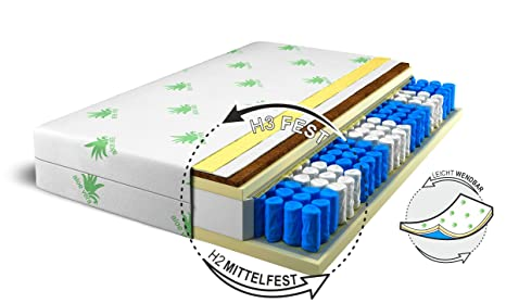 Materasso faro 9Zone con HR massaggio Schiuma Premium molle indipendenti H2H3, H3 - duro, 180 x 200 cm