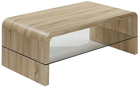 """HL Design 01-03-537.1 Couchtisch """"Antje"""", 1100 x 600 x 400 cm, Sonoma Eiche hell, 6 mm, Klarglas, Stärke 40 mm,"""