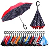 BAGAIL Double Layer Inverted Umbrellas Reverse Folding Umbrella Windproof UV Protection Big Straight Umbrella for Car Rain Outdoor With C-Shaped Handle Blue Dot (Color: Blue Dot)