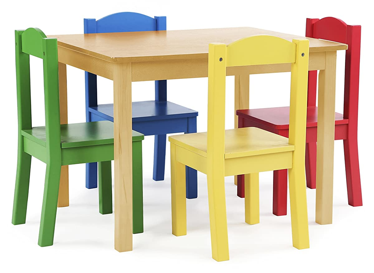 Tot Tutors Kids Wood Table And 4 Chairs Set Natural