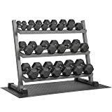 XMark 550 lb. Set Hex Dumbbell Set and Dumbbell Rack with Equipment Mat, 5 lb. to 50 lb. Dumbbell Set With Three Tier Dumbbell Rack For Easy Dumbbell Storage (White Rack) (Color: Gray Rack, 550 lbs. and Free Mat)