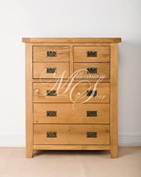 SOLID CHUNKY WOOD RUSTIC OAK 4 OVER 3 CHEST OF DRAWERS