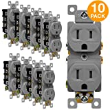 ENERLITES Tamper-Resistant Child Safe Duplex Receptacle Outlet, Residential Grade, 3-Wire, Self-Grounding, 2-Pole, 15A 125V, UL Listed, 61580-TR-GY-10PCS, Gray (10 Pack) (Color: Gray 10 Pack 15A)