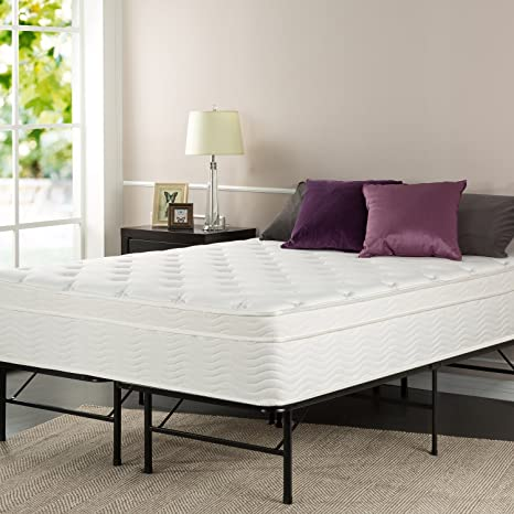 Sleep Master 13-Inch Deluxe Euro Box Top Pocketed Spring Mattress and Platform Metal Bed Frame/Mattress Foundation, Queen