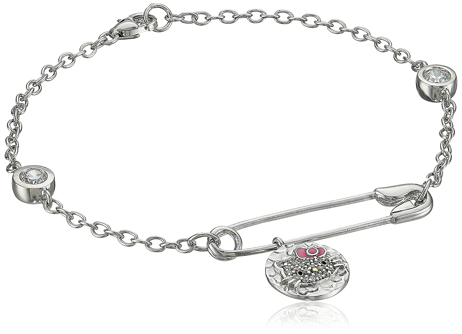 Hello Kitty Hammered Disc White Rhodium Plated with Swarovski Crystal Pave Charm Bracelet 2017 new portable lunch bag thermal insulated snack lunch box carry tote storage bag travel picnic food pouch