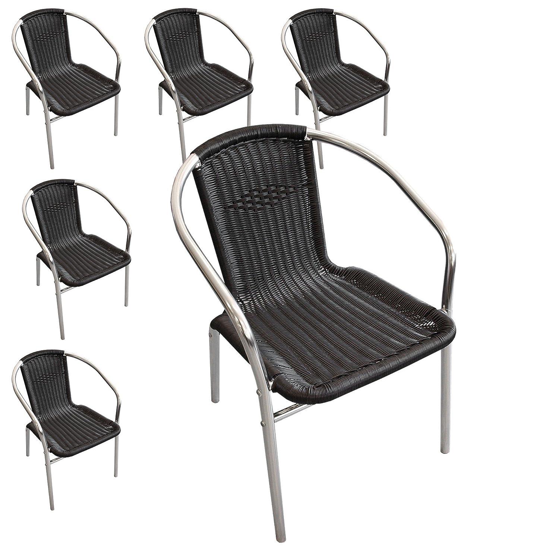6 Stück Aluminium Stapelstuhl Polyrattan – Bespannung Campingstuhl Gartenstuhl Bistrostuhl Gartenmöbel – Schwarz / Silber kaufen