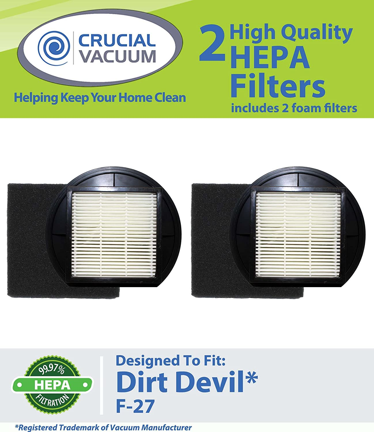 Crucial Vacuum 2 Dirt Devil F-27 Replacement HEPA Filters with Foam Filter; Replaces Dirt Devil Vacuum Part # F27 1LY2108000 / 1-LY2108-000 at Sears.com