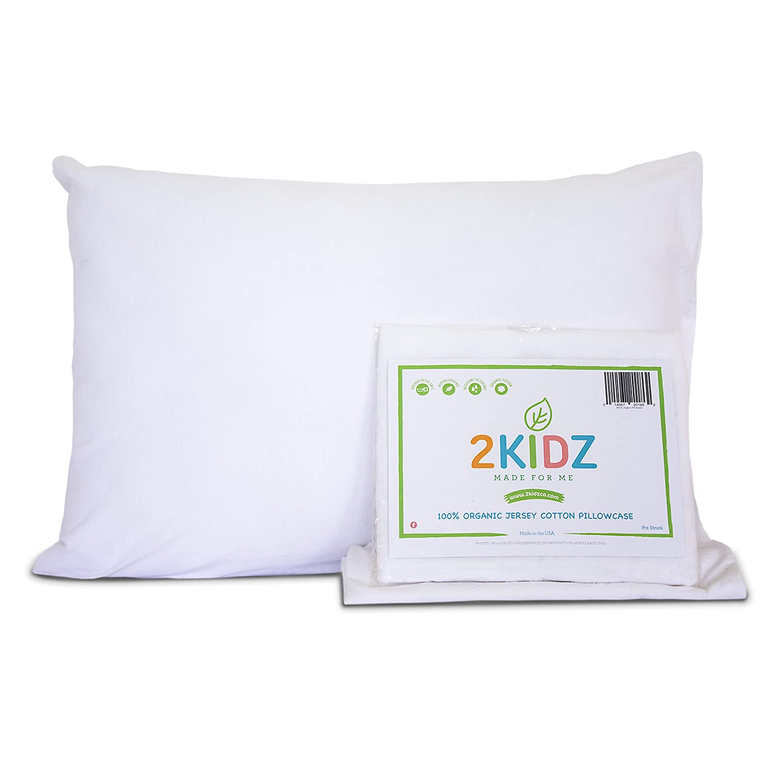 Toddler Pillowcase - 100% Organic Jersey Cotton. Made for a 13x18 Pillow. Perfect Size for Our Little Ones. Machine Washer and Dryer Safe. Made in USA. White