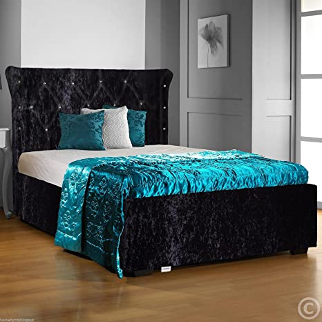 Hf4you Chesterfield Diamante Crushed Velvet Bed Frame - 4FT6 Double - Black - Orthopaedic Sprung Mattress