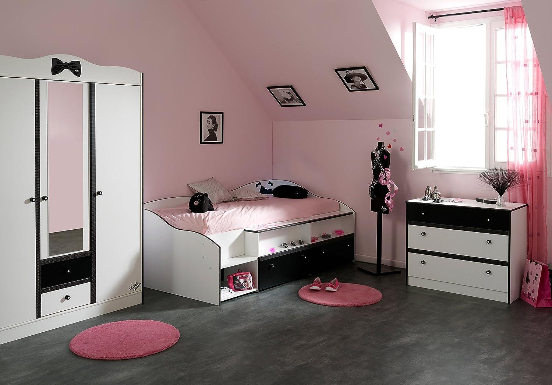 Jugendzimmer mit Bett 90 x 200 cm weiss/ schwarz