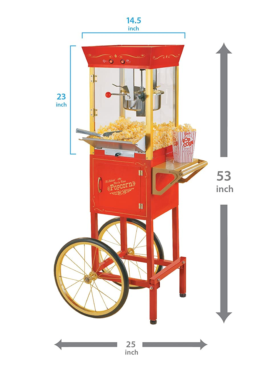 Nostalgia CCP510 53-Inch Tall Vintage Collection 6-Ounce Kettle Popcorn Cart 3