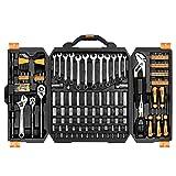 DEKOPRO 192 Piece Mechanics Tool Set Socket Wrench Set,Auto Repair Hand Tool Kit Wrench Tool Box Set with Plastic Storage Case (Color: Black&Yellow, Tamaño: 192 PCS)