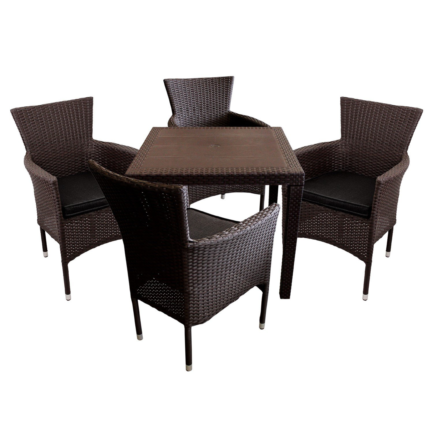 5tlg balkonm bel set gartentisch vollkunststoff rattan optik 79x79cm 4x gartensessel poly. Black Bedroom Furniture Sets. Home Design Ideas