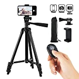 Hitch Phone Tripod,Gopro Tripod 42 Inch 106cm Aluminum Lightweight Smartphone Tripod for Iphone/Samsung/Huawei Cellphone, Camera and Gopro with Bluetooth Remote Control, Carrying Bag and Gopro Mount (Color: Black, Tamaño: 42