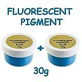 Prestige Fluorescent UV Pigment Powder by UNIGLOW PRODUCTS LLC. | Black Light Reactive | Formaldehyde-Free & ECO Friendly | Multi-Purpose Use Tint Dye | Decorations (Blue - Oil Based, 30g) (Color: BLUE - OIL BASED, Tamaño: 30g)
