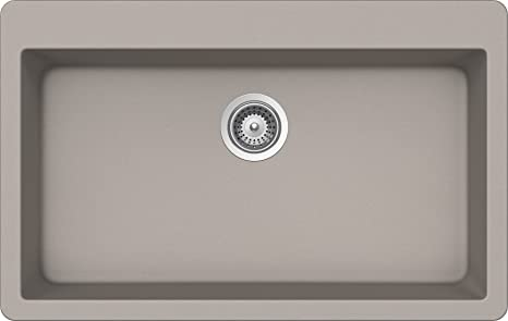 SCHOCK MOTN100T042 MONTANO Series CRISTALITE Topmount Large Single Bowl Kitchen Sink, Concrete