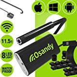 Wireless Endoscope Camera - WiFi Borescope Inspection - 2.0MP HD Flexible Snake Camera - Waterproof Endoscopic Camera for iPhone, Android, iOS, iPad, Samsung, Tablet - Lizard Cam with Bright Light (Color: Black, Tamaño: 11.5 ft // 3.5 m)