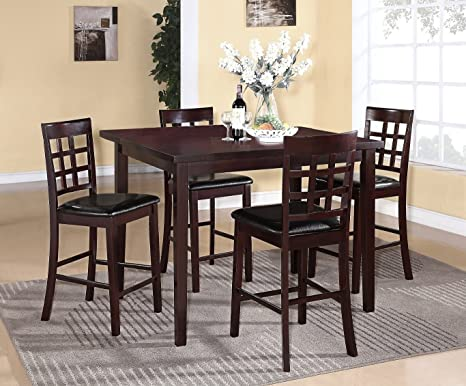 Poka 5PC Espresso Finish Square Wood Counter Height Dining Set