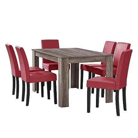 [en.casa] Esstisch Eiche antik mit 6 Stuhlen dunkelrot Kunstleder gepolstert 140x90 Essgruppe Esszimmer