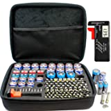 Full Size Battery Organizer Storage case with Digital Battery Tester/Checker, C D 9V AA AAA Battery Organizer(No Battery Included) (Tamaño: Full Size Battery Organizer with Digital Tester)