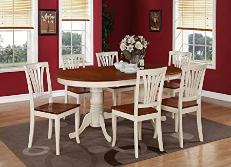 East West Furniture PLAV7-WHI-W 7-Piece Dining Table Set