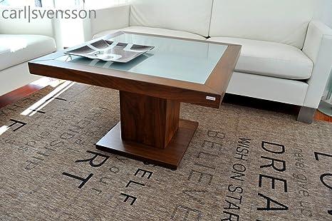 Design Couchtisch S-360 Walnuss / Nussbaum Milchglas Carl Svensson
