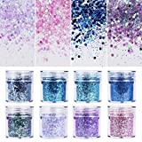8 Colors Chunky Glitter Nail Sequins Iridescent Flakes Colorful Mixed Paillette Face Body Hair Nail Art mermaid Makeup(color2) (Color: color2)