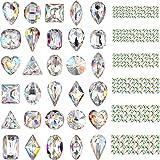 Bememo 2000 Pieces 3D Crystal AB Color Flat Back Rhinestones Nail Art DIY Crafts Gemstones with 30 Nail Art Metal Gem Stones, Total 2030 Pieces (Style A) (Color: Style A, Tamaño: 2030 Pieces)