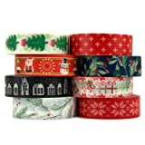 Crafty Rabbit Holly Jolly Christmas Washi Tape - Set of 8 Rolls - 262 Feet Total (Color: HOLLYJOLLY)