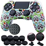 9CDeer 1 Piece of Silicone Studded Water Transfer Protective Sleeve Case Cover Skin + 8 Thumb Grips Analog Caps + 2 dust proof plugs for PS4/Slim/Pro Dualshock 4 Controller, Skull Colour (Color: Skull Colour, Tamaño: printing)