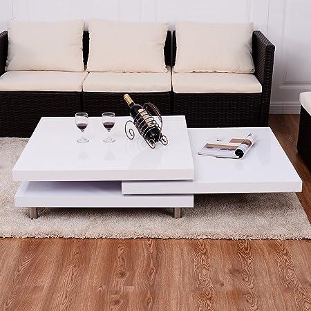 Couchtisch Beistelltisch Wohnzimmertisch drehbare Platte Kaffeetisch Sofatisch Weiß